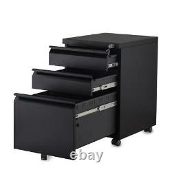 Mobile Filing Pedestal Cabinet Home Office 2/3 Drawers Chest with Lockable Desk