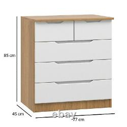 NEW! Fully Assembled 2 over 3 Chest of Drawers Draw Quality Gloss White & Oak