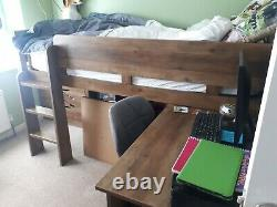 Next Compton Pine Cabin Bed With Desk and chest of drawers