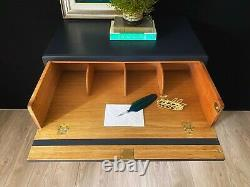 Oak Finish Desk, Secretaire, or Chest Of Drawers in Navy blue