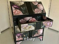 Painted bureau, desk, chest of drawers, hall table decoupage dark floral