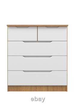 Ready Assembled 2 over 3 Chest of Drawers Draw White Gloss & Oak Carcass