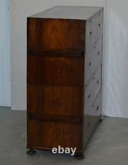 Restored 1876 Stamped Camphor Wood Military Campaign Chest Of Drawers + Desk
