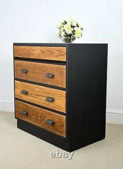 Retro Vintage Tallboy chest of drawers by Kandya desk drop front top drawer
