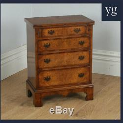 Small Georgian Style Burrr Walnt Chest of Drawers Writing Table Desk (c. 1970)