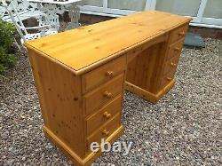 Solid Antique Pine Wood Desk / Dressing Table / 8 Drawer Chest