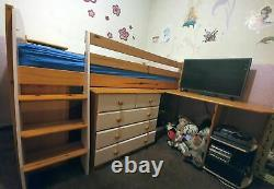 Solid wood cabin bed mid sleeper desk chest of drawers ladder
