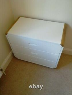 Stompa curve midsleeper bed in white/oak with pull out desk + 3 drawer chest