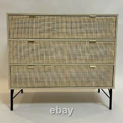 Stunning Rattan 3 Drawer Chest Cabinet Wooden Desk Table NEW 2021 Viola Wood