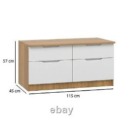 Tall Boy Low Chest Wide Chest Drawers Handless Gloss White & Oak Ready