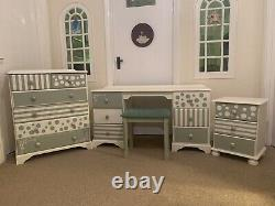 Totally Unique Childrens Desk, Chest Of Drawers, Bedside Cabinet And Stool