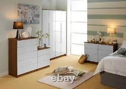 Tuscany Walnut & Gloss White Ready Assembled Bedside Cabinets Chest of Drawers