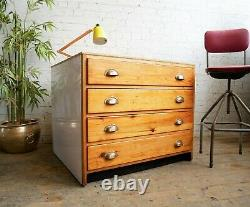 Upcycled Vintage 60s 70s Mid Century 4 Drawer Architects Artists Plan Chest Desk