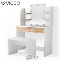 Vicco Charlotte Dressing Table Vanity Desk Chest of Drawers Mirror 142x108 cm