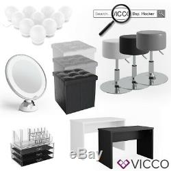 Vicco Lilli Dressing Table Vanity Desk Chest of Drawers LED Mirror White + bench