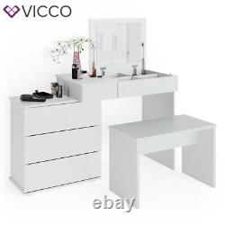 Vicco dressing table Lotos white vanity desk console 4 drawers chest of drawers