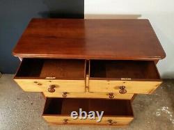 Victorian Antique Solid Mahogany Chest Of Drawers-With Pine draws