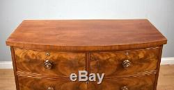 Victorian Flame Mahogany Bow Front Chest of Drawers