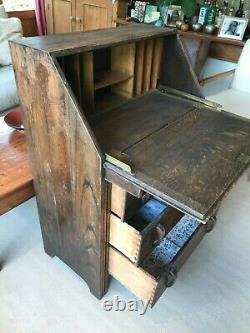 Vintage Arts and Crafts Oak Bureau Desk With Chest of Drawers