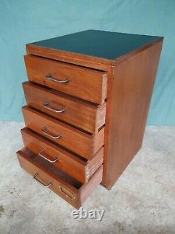 Vintage Ex Mod Solid Teak Chest Of Office Drawers Filing Chest Of Drawers Desk