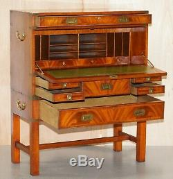 Vintage Flamed Mahogany Military Campaign Chest Of Drawers Drop Secretaire Desk