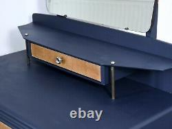 Vintage Retro chest of drawers dressing table navy mirror 60's 70's desk