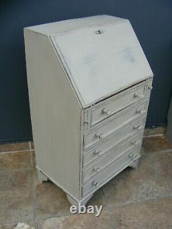 Vintage Shabby chic painted small oak writing bureau /desk / chest of drawers