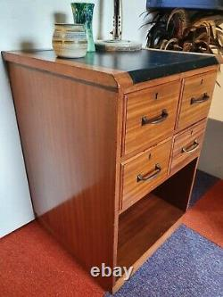 Vintage Solid Teak Mid Century Chest of Drawers Haberdashery Desk Campaign