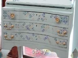 Vintage Wood Writing Bureau Desk Chest Of 3 Drawers In'dixi Belle' Paint