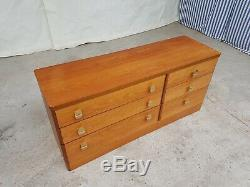 Vtg Mid Century Stag Teak Low Sideboard Double Chest Of Drawers Retro #341