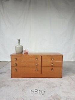 Vtg Mid Century Stag Teak Sideboard Double Chest Of Drawers Retro Danish #527