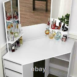 White Dressing Table Set Chair Stool Desk 3 Large Mirrors & 5 Chest of Drawers