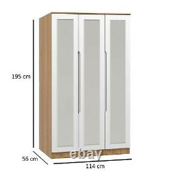 White Gloss & Lissa Oak Tall Boy Low Chest Wide Chest Drawers Bedroom Furniture