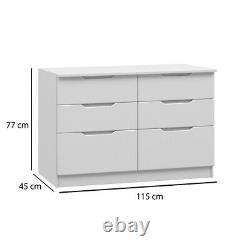 White Gloss Tall Boy Low Chest Wide Chest Drawers Bedroom Furniture Complete
