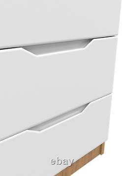 White High Gloss & Lissa Oak Bedside Cabinets Table Drawers Bedroom Furniture