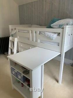 White Mid Sleeper Cabin Bed with Chest of Drawers, Bookshelf and Pull-out Desk