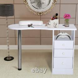 White Nail Technician Desk Manicure Table withChest of 3 Drawers Salon Workstation