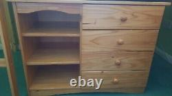 Wooden pine bunk bed with desk, chest drawer and mattresses